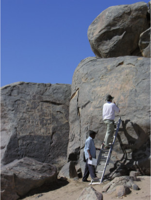 The Egyptian inscriptions of Thutmose I, dating from around 1500 BC, at Tombos. Photo from <em>Sudan Studies</em> No. 53 p. 62. Credit: Derek Welsby and the Sudan Archaeological Research Society.
